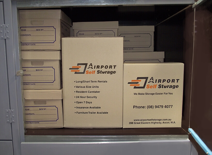 boxes in metal storage unit