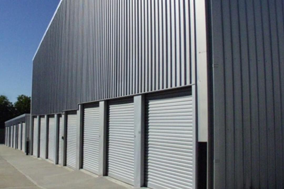 dark blue storage shed